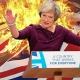 Theresa May - burning Union Jack