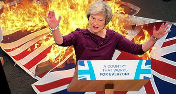 Theresa May - burning Union Jack